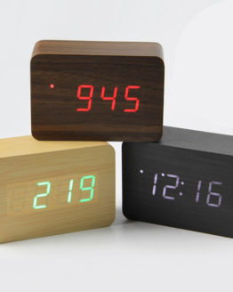 Réveil Cube USB en bois et a LED Alarm Clock wood bambou bamboo home maison art decoration hightech best top meilleur 2018