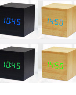 Réveil Mini Cube USB en bois et a LED Alarm Clock wood bambou bamboo home maison art decoration hightech best top meilleur 2018